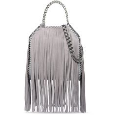Stella McCartney Light Grey Falabella Shaggy Deer Fringed Mini Tote ($1,515) ❤ liked on Polyvore featuring bags, handbags, tote bags, light grey, fringe tote bag, fringe tote, stella mccartney handbags, fringe purse and handbags tote bags