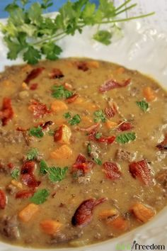 This bacon cheeseburger soup is winter's best next thing to a bacon cheeseburger! Seasoned beef, bacon, sautéed sweet potatoes and veggies with a cheesy, mustard broth. Easy! Delicious, Low-carb, Paleo, Whole30