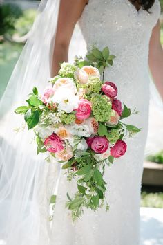 pink + green bouquet with ranunculus, hydrangea, jasmine, honeysuckle, and garden roses | Kim Box