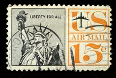 Vintage US Postage Stamps Values | Old vintage usa postage air mail stamp liberty for All — Stock Photo ...