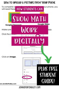 Are your students having trouble submitting their math assignments during distance learning? Check out the post to get the free student cheat sheet to uploading math work digitally. Teaching Technology, Teaching Math, Teaching Tips, 7th Grade Math, Fourth Grade, Math Notes, Math Work, Math Classroom, Google Classroom