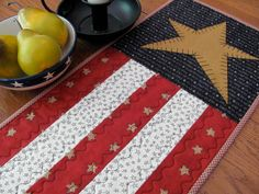 4th of July Quilted Table Runner Red White and Blue Stars and Stripes Americiana Hand Appliqued Civil War Colors 4th of July Primitive Decor