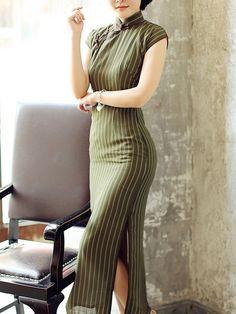 62b19a7b437 Green Ankle-Length Linen Qipao   Cheongsam Dress in Stripe Chiffon