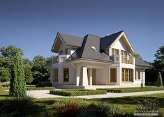 Projekty domów LK&Projekt LK&1410 wizualizacja 3 House Front, Home Fashion, Mansions, House Styles, Houses, Home Decor, Projects, Homes, Decoration Home
