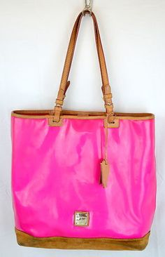 Dooney Bourke Large Shopper Tote Hot Pink Patent Leather Purse Bag Suede $278 | eBay