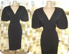 Vintage 80s Retro 50s SEXY Bubble Sleeve Pencil Wiggle Dress Pin-Up Bombshell 8 M/L by IntrigueU4Ever