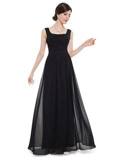 Black Straps Chiffon Ruched Sheath V Back Cheap Long Bridesmaid Dress Prom Dress