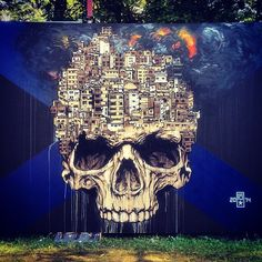 stunning #painting by #swiss @rodjagalli at the @ironlak #graffiti gallery > @royalarena #hiphop festival in #orpund #biel #switzerland #rodjagalli #streetart #royalarena #ironlak #amateurmag #skull #favela #explosion