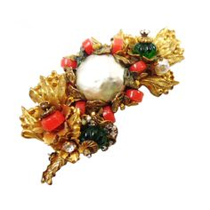 Miriam Haskell - Miriam Haskell Coral & Green Glass Brooch