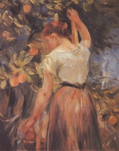 Young Girl Picking Oranges -  Berthe Morisot