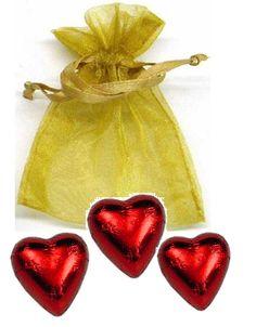 3-pc Chocolate Heart in Organza Bag