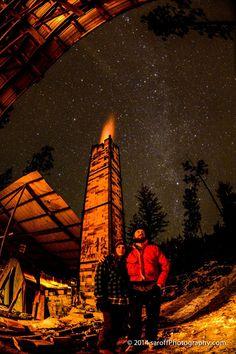 Steve Saroff photo of Missoula Anagama November 2014 firing under The Milky Way.