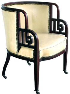 Rare Austrian Early Art Deco Mahogany Barrel-Back Chair; Josef Hoffmann Rare Austrian Early Art Deco Mahogany Barrel-Back Chair; Plywood Furniture, Art Deco Furniture, Furniture Styles, Vintage Furniture, Furniture Design, Art Deco Chair, Furniture Removal, Art Deco Decor, Art Deco Home