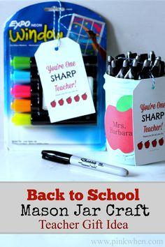Back to School Mason Jar Craft Teacher Gift Idea #inspirestudents #teacherschangelives #pmedia #ad