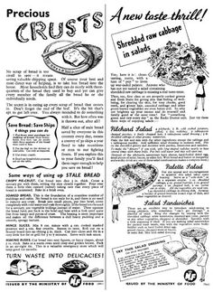 A Visual History of Cookery; A second world war Ministry of Food pamplet on conserving food and eating healthily. During the war, meat, eggs and dairy became scarce, and the public was obliged to fall back on vegetables and pulses. Books and leaflets were produced, offering suggestions on economising, and recipes for dishes involving rationed projects such as dehydrated eggs