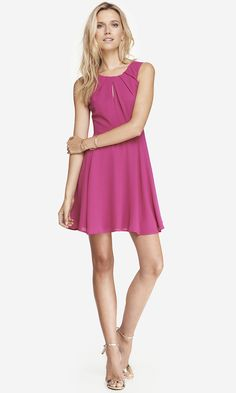 PLEATED KEYHOLE FIT AND FLARE DRESS - ROSE | Express