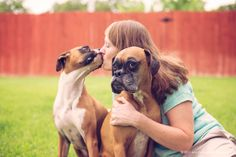 Max and Mara, the boxers, with their Mom.