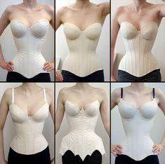 Motif Corset, Diy Corset, Corset Sewing Pattern, Dress Sewing Patterns, Clothing Patterns, Bra Pattern, Underbust Corset, Lace Corset, Pattern Drafting