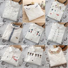 Cheap shirt blouses, Buy Quality shirt maker directly from China shirt long Suppliers: 2017 New fashion cartoon Embroidered collar color white cotton long sleeve shirt women blouse ladies floral office OL shirts