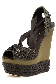Giuseppe Zanotti Dark Green Wedge Sandal Spring 2015 #Shoes