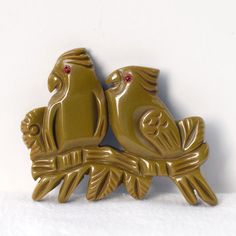 Vintage Bakelite Parrots or Birds on a Branch Pin