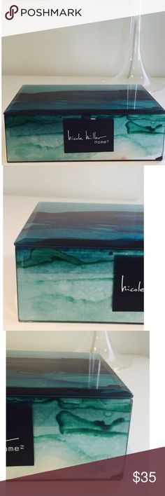"""New Nicole Miller Aqua Jewelry Keepsake Box NEW Nicole Miller Home jewelry/keepsake/decorative box. Watercolor-like brushstrokes form the base image which is finished with a foil (mica) effect & fitted w/a beveled acrylic overlay. Color is aqua/peacock blue/ green w/few flecks of red. See pics. Very sleek, glossy & shimmery/pearlescent quality!  Overall size is  7-7/8""""x5-5/8""""x2-3/8"""". Interior is 7-1/8""""x5-1/4""""x2-1/8"""". Black velvet flocked lining on bottom & in complete interior. Designer tag…"""