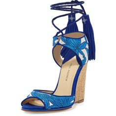 Paul Andrew Tianjin Embroidered Tassel Wedge Sandal ($399) ❤ liked on Polyvore featuring shoes, sandals, shoes wedges, metallic strappy sandals, cork wedge sandals, tassel sandals, strap wedge sandals and cork wedge shoes