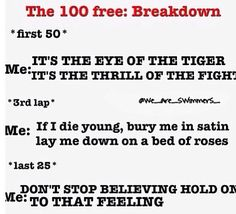 yea this was my experience with 400 free, fly, breast, and back... I still cant believe I got second... yay!