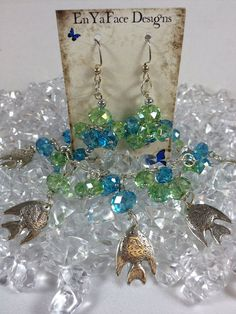 Fish in the Ocean Charm Bracelet and Earrings on Etsy, $35.00