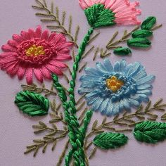 Hand Embroidery Patterns Flowers, Ribbon Embroidery Tutorial, Hand Embroidery Videos, Simple Embroidery, Silk Ribbon Embroidery, Hand Embroidery Designs, Embroidery Thread, Embroidery Supplies, Ribbon Art