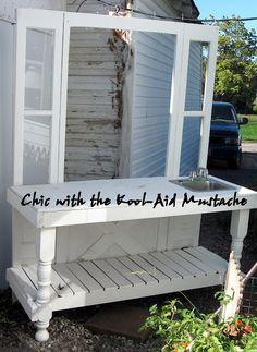 Potting Bench - like the idea of using windows