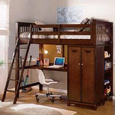 I really like this loft bed, adequate desk space with lots of storage spaces for my son's collections.  When they share a room they need their own storage spots.
