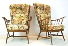 Vintage Pair of Mid Brown Ercol Windsor Evergreen Armchair Easy Chairs 70s Retro | eBay