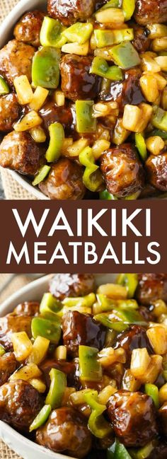 Meatballs Waikiki Meatballs - A winning meal to add to your dinner rotation! These yummy meatballs are sweet and delicious.Waikiki Meatballs - A winning meal to add to your dinner rotation! These yummy meatballs are sweet and delicious. Asian Recipes, Healthy Recipes, Hawaiian Food Recipes, Hawaiian Dishes, Healthy Meals, Healthy Food, Meatball Recipes, Meatball Dinner Ideas, Meatball Sauce