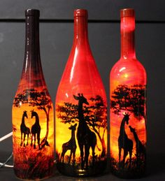 If you would like a perfect, positively one of a kind gift, browse my album and place an order when you find something you like! No 2 lamps are Alcohol Bottle Crafts, Glass Bottle Crafts, Wine Bottle Art, Bottle Lamps, Painted Glass Bottles, Painted Wine Glasses, Decorated Bottles, Wine Glass Candle Holder, Art N Craft