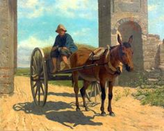 "John Whetten Ehninger (1827 – 1889). ""Italian Boy On A Donkey Cart"" Courtesy: American Gallery, americangallery.wordpress.com"