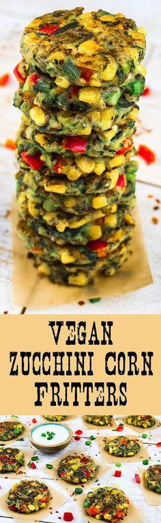 Vegan Zucchini-Corn Fritters (GF) - http://veganhuggs.com/fritters/ #vegan #Gluten Free