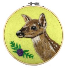 Fawn wool painting embroidery hoop art