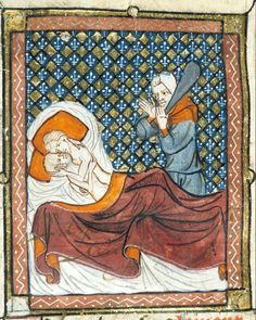 Mars and Venus being discovered in bed by Vulcan,from the 'Roman de la Rose', France (Paris?), ca. 1380. The British Library.