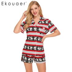 6f4b22aef0 Ekouaer Christmas Casual Pajama Sets For Women Sleepwear Tops Shorts Set  Simple Loungewear Night Suit Nightgown