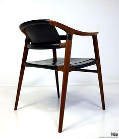Rolf Rastad & Aldolf Relling; Teak and Leather 'Bambi' Armchair for Gustav Bahus & Eft, 1954.