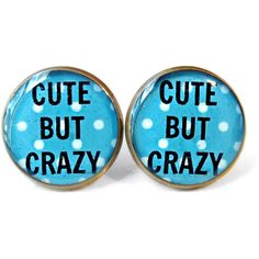 CUTE BUT CRAZY Blue Polka Dot Stud Earrings - Anti - Valentines Day Jewelry - Pastel Goth Insult Heart Pop Culture Jewelry ($10) found on Polyvore