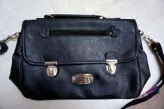 Vintage Leather Bag, black handbag or brief case by blingblingfling on Etsy