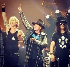 Slash, Duff & Axl Rose of Guns N' Roses, T-Mobile Arena, Las Vegas, April 2016 -#axlrose #gnr #gunsnrosesreu…