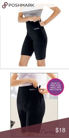 Curves Trimming Shorts Sweat Shorts Neoprene High Curves Trimming Shorts Large Black Exercise Sweat Shorts Neoprene High. Size XL women's. Excellent new condition. NO FLAWS!!! Super well Made and these work WONDERS!!! Amazing workout shorts! Comes from a clean and smoke free environment. Shorts