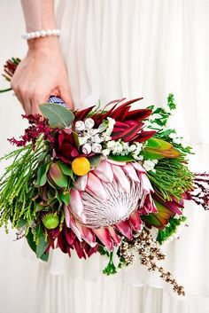 Inspiration and ideas for wedding and bridal flowers. Proteas are a great flower to include in your bridal bouquet and centerpieces. Protea Wedding, Fall Wedding Bouquets, Flower Bouquet Wedding, Floral Wedding, Bridesmaid Bouquets, Elegant Wedding, Rustic Wedding, Wedding Ideas, Bouquet Bride