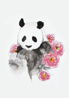 Panda Art Print by Celia Libelle – X-Small – Hobbies paining body for kids and adult Panda Wallpapers, Cute Wallpapers, Panda Painting, Panda Drawing, Cute Panda Wallpaper, Panda Party, Panda Love, Cute Drawings, Amazing Art