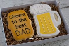 "12 Likes, 5 Comments - Nancy Kidder (@the.sweetest.one.of.all) on Instagram: ""father's day cookies gift set. inspired by @jillfcs. beer mug cutter from @bobbiscookies…"""