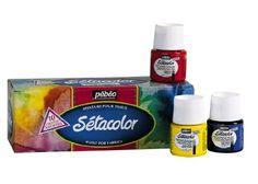 Pebeo Setacolor Transparent Fabric Paint Set, Cardboard Box of 10 Assorted 45-Milliliter Jars