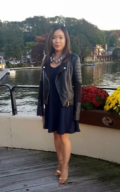 #OOTD features a navy blue swing dress from YOINS and gold heels.